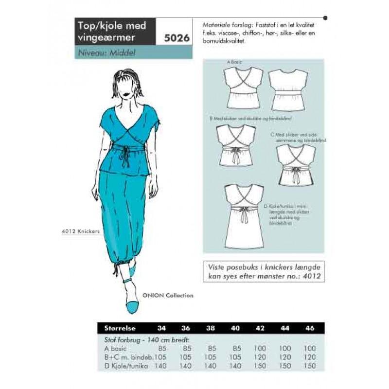 Onion 5026 -Top/kjole med vingærmer