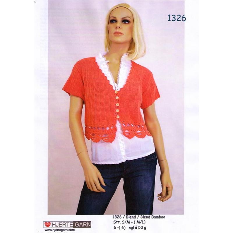 1326 Kort bluse m/hæklede kanter