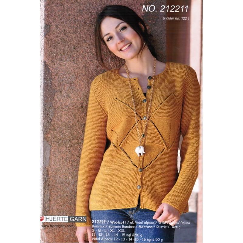212211 Retstrikket trøje m/mønster-bort