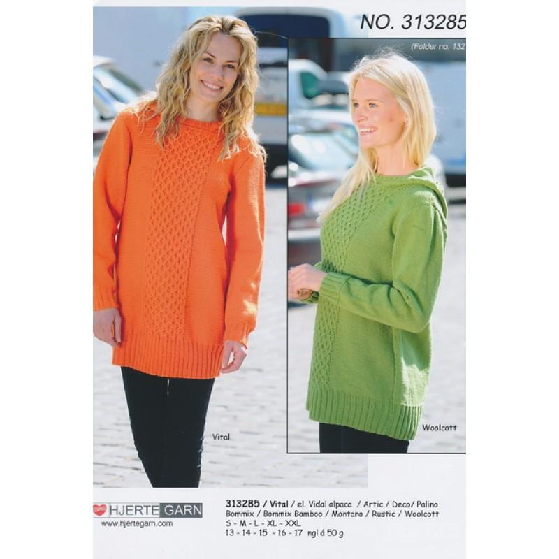 313285 Lang sweater m/smock-strikning