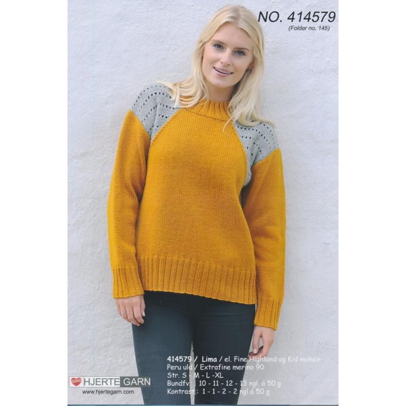 414579 Sweater m/kontrast-indsats