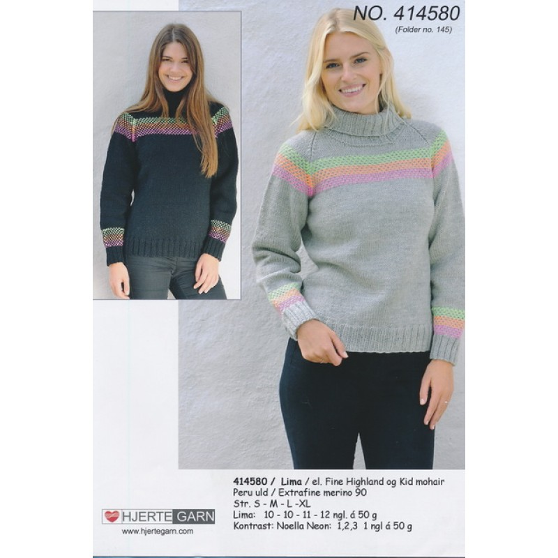 414580 Sweater m/neon mønster