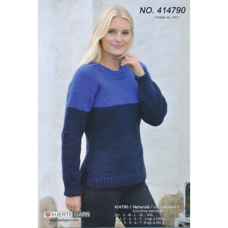 414790 2-farvet top-down sweater