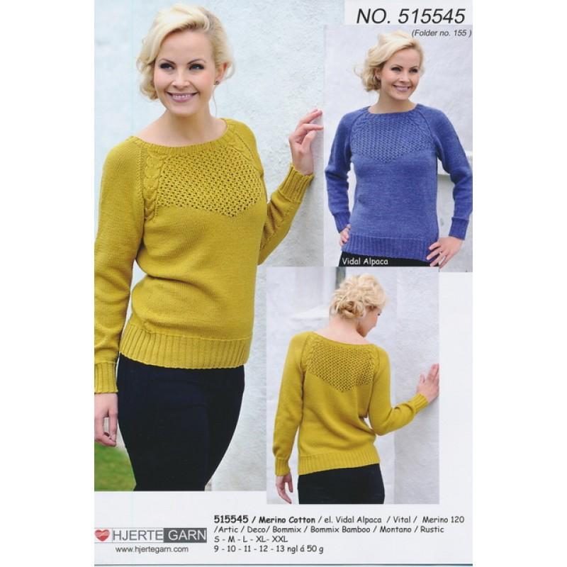 515545 Sweater m/snoning & hulmønster