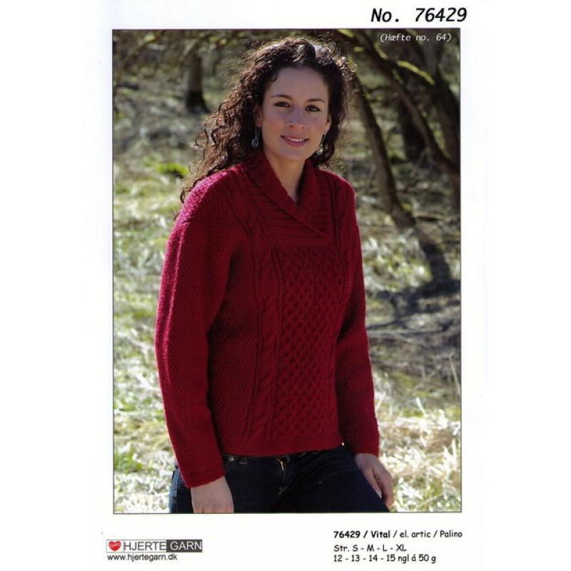 76429 Sweater m/aranmønster på forstykket-30