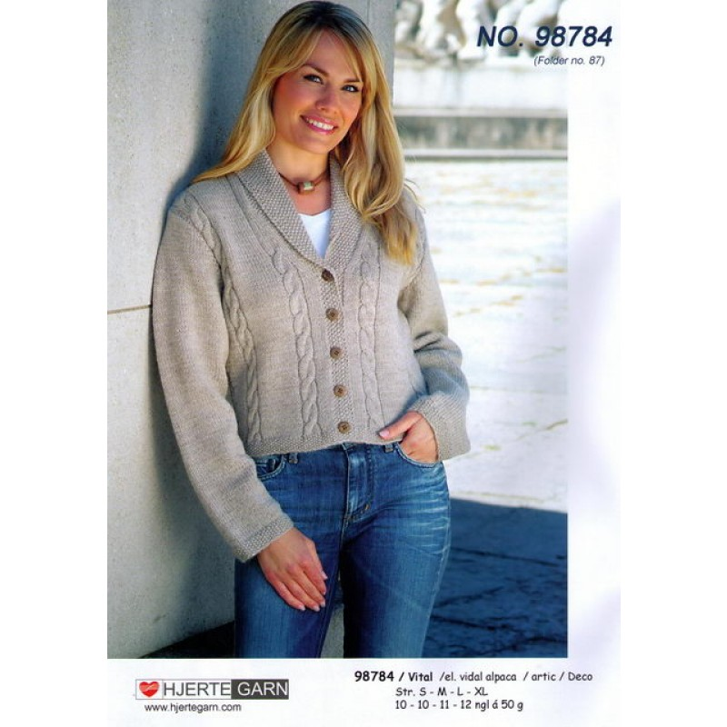 98784 Kort trøje m/sjalskrave