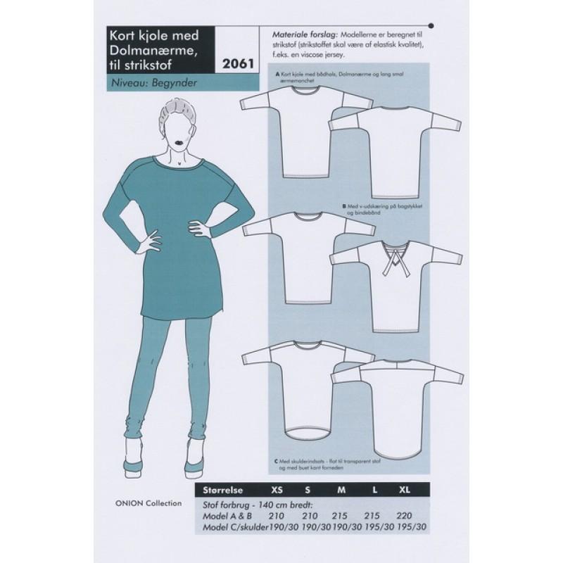Onion 2061-Kort kjole med Dolmanærmer, til strikstof-31