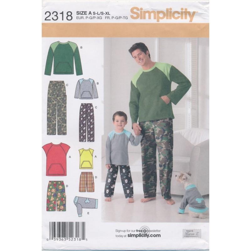 Simplicity 2318 Nattøj dreng og mand i jersey-35