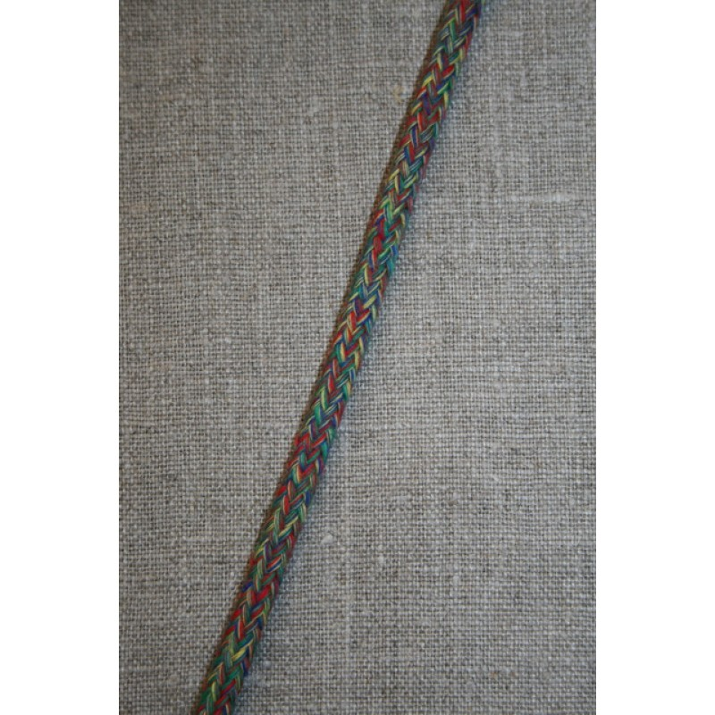 Rest Anoraksnor 6 mm. meleret rød/gul/grøn, 145 cm.