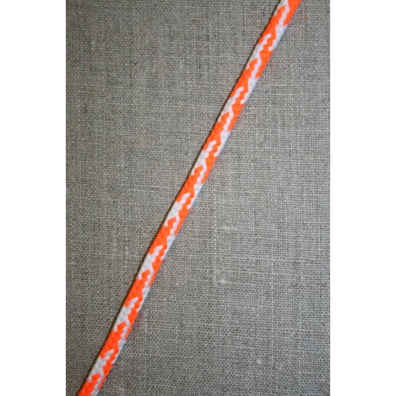 Anoraksnor 6 mm. i hanefjeds-look, hvid/neon orange