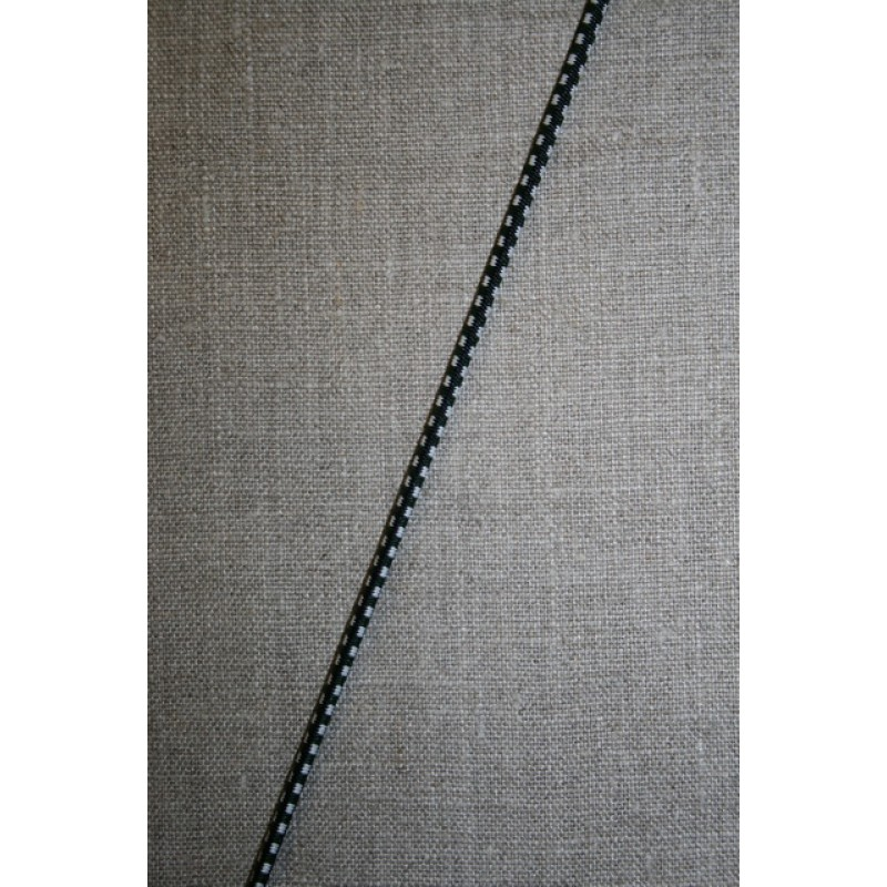 Elastik anoraksnor m/tern sort/hvid/grøn-35