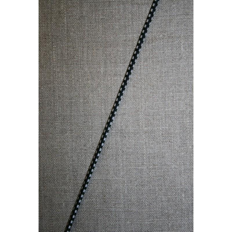 Elastik anoraksnor m/tern sort/hvid/grøn