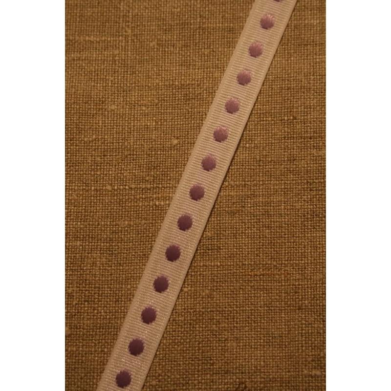 Bånd med prikker hvid-lyselilla-33