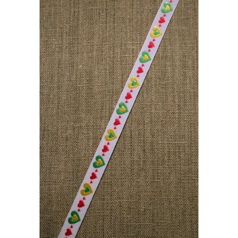Hvid bånd med hjerter i pink-gul-grøn-31