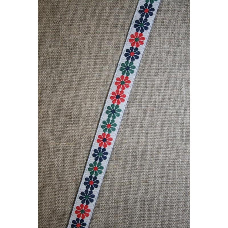 Bånd med blomster grøn-rød-blå-33