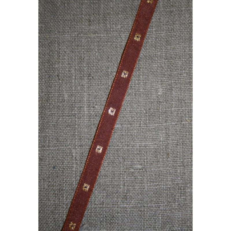 Rest Bånd med firkanter, rødbrun-guld 160 cm.-31
