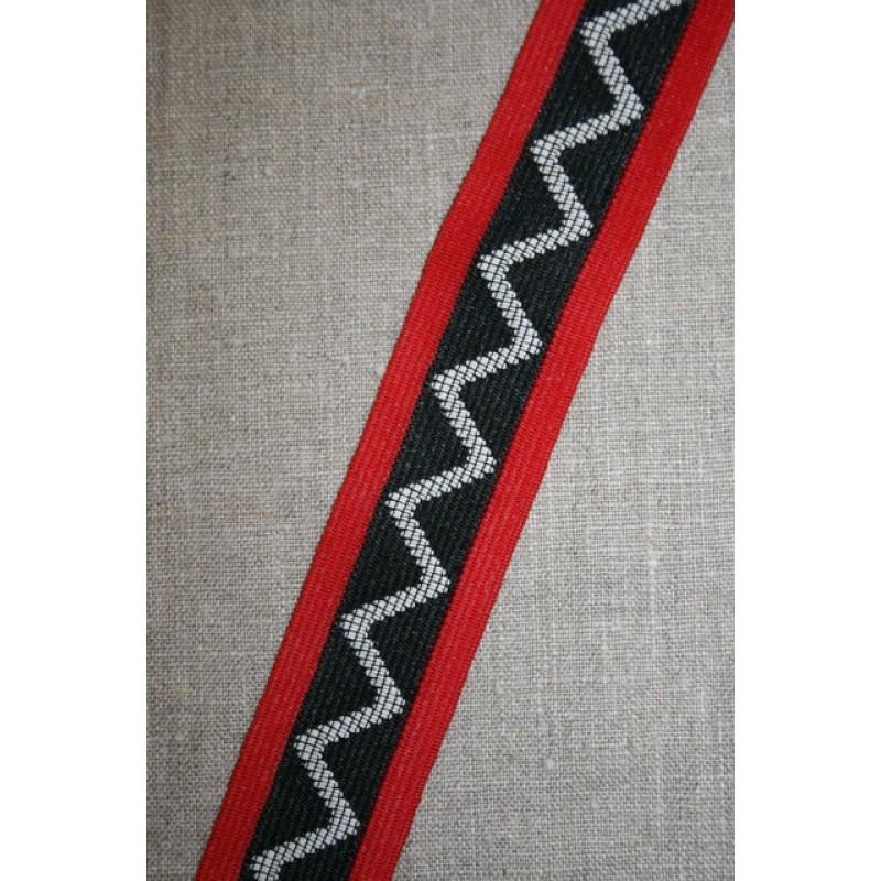 Sportsbånd med zig-zag sort-rød-off-white-31
