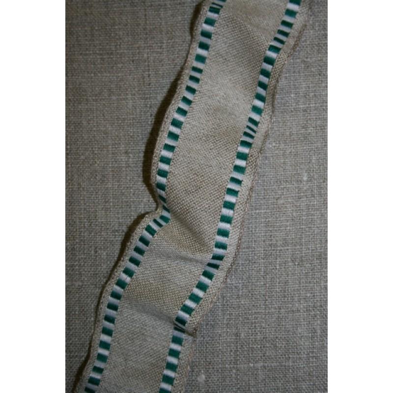 Bånd med metaltråde hør-grøn/hvid, 40 mm.-31