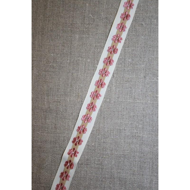 Grosgrain-bånd med blomst off-white-beige-gl.rosa