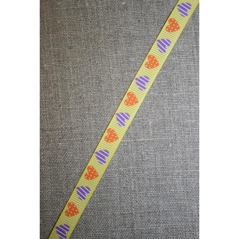 Grosgrain-bånd m/hjerter, gul/orange/lilla-31
