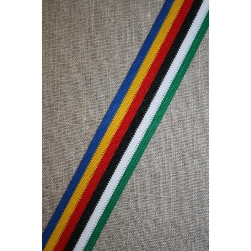 Stribet bånd kobolt/rød/gul/grøn-31