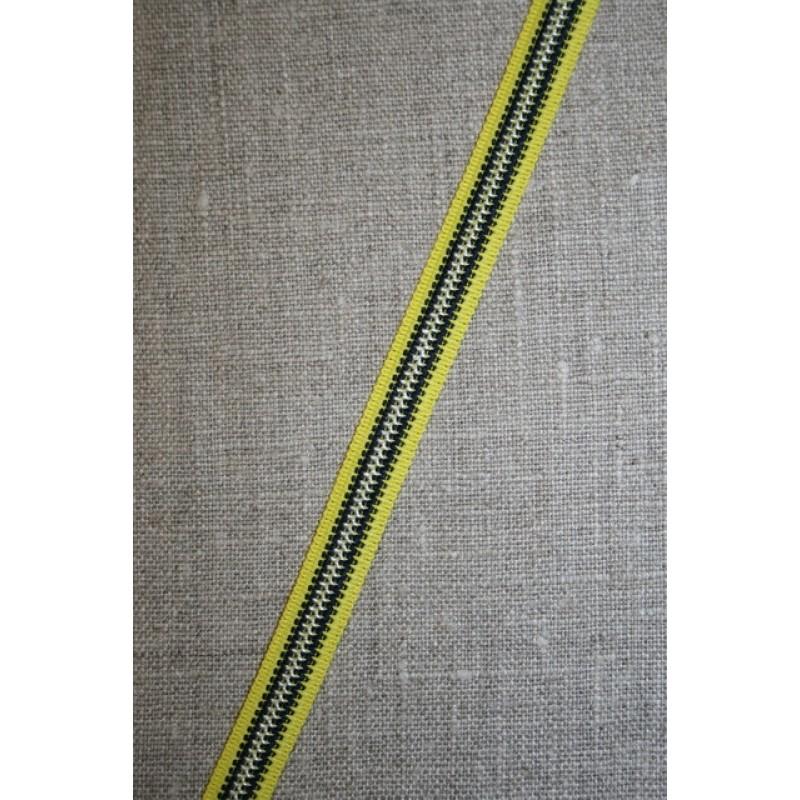 Stribet bånd gul/sort/hvid, 10 mm.-31