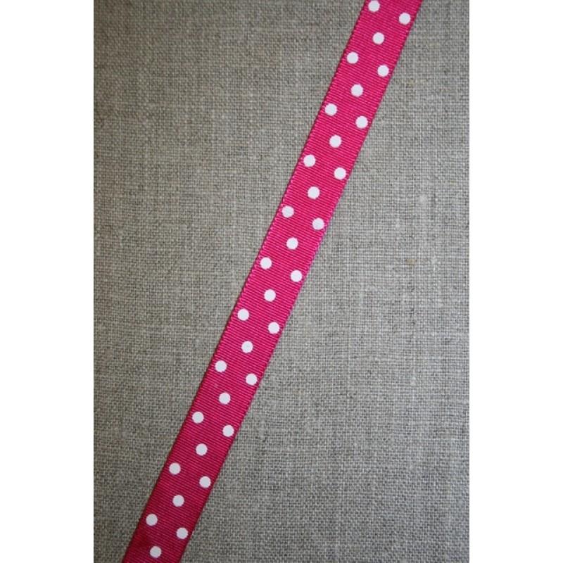 Rest Grossgrain-bånd m/prikker pink/hvid- 55 cm.