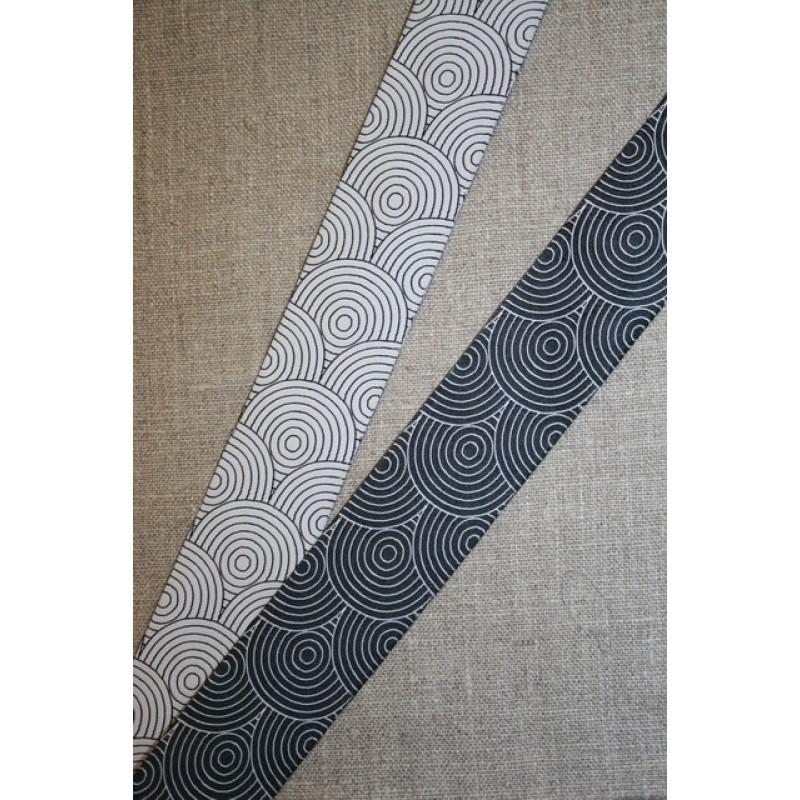 Dobbelt bånd m/ringe sort/hvid-31