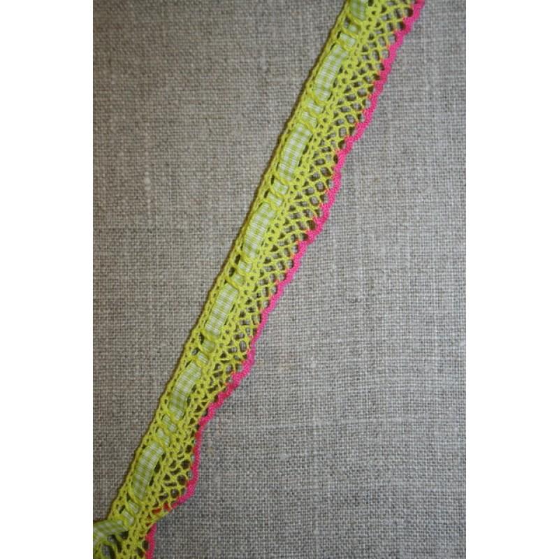 Elastisk ternet bånd lime-pink