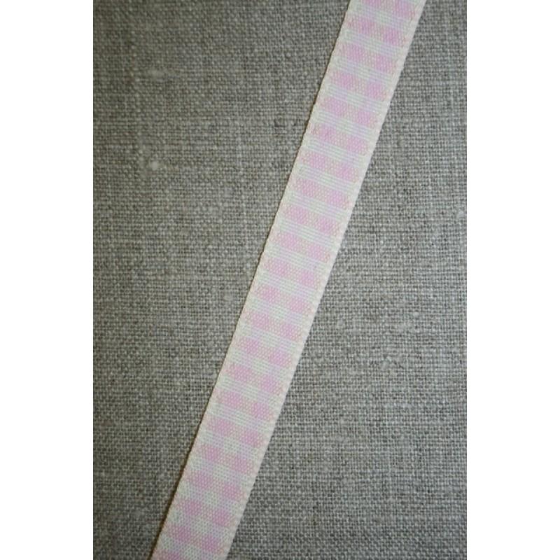 Ternet bånd off-white/babylyserød, 15 mm.-31