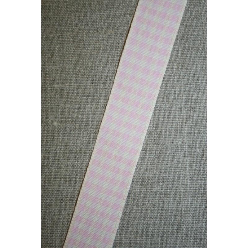 Ternet bånd off-white/babylyserød, 25 mm.