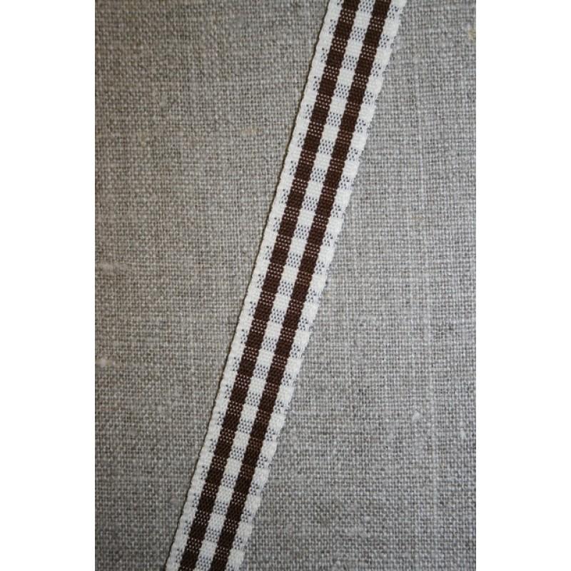 Ternet bånd off-white/mørkebrun, 15 mm.