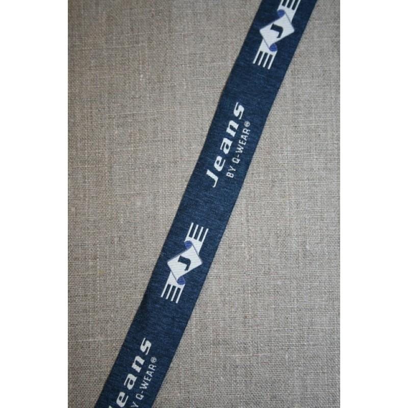 """Rest Mørkeblå-lysegrå bånd """"Jeans"""", 155 cm.-35"""