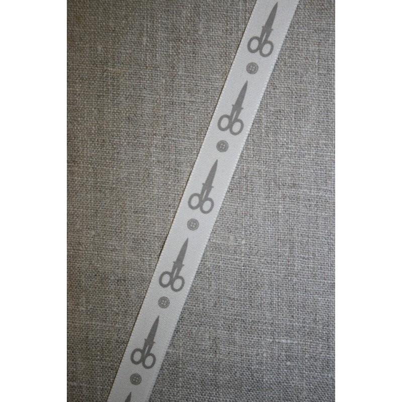 Bånd med saks and knap, kit-lysegrå-35