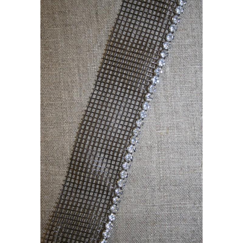 Rest Bånd med simili-sten, brun- 110 cm.