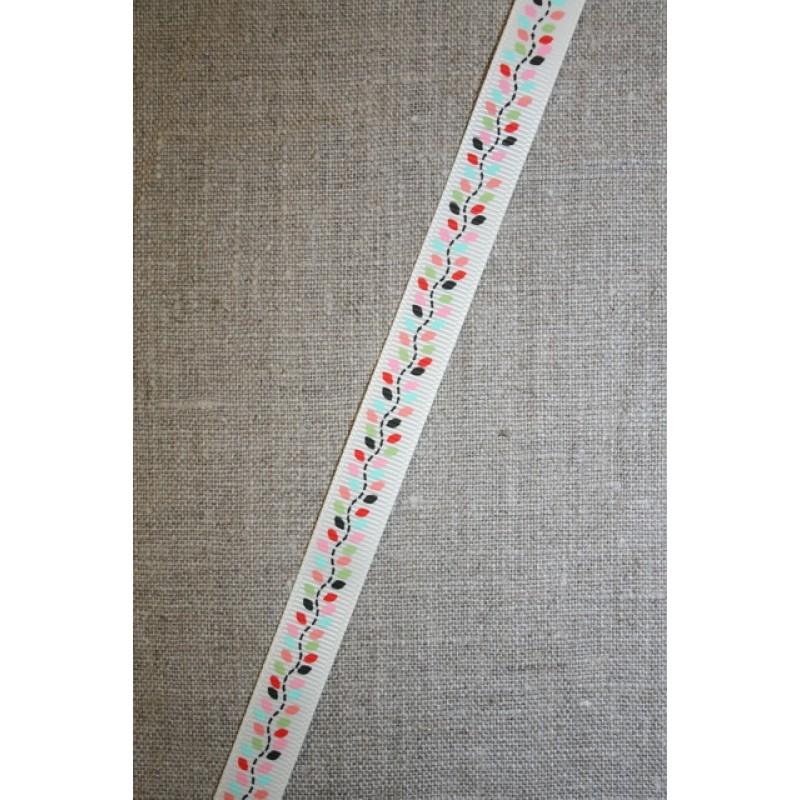Grossgrain-bånd m/blade, off-white/lyserød, 13 mm.