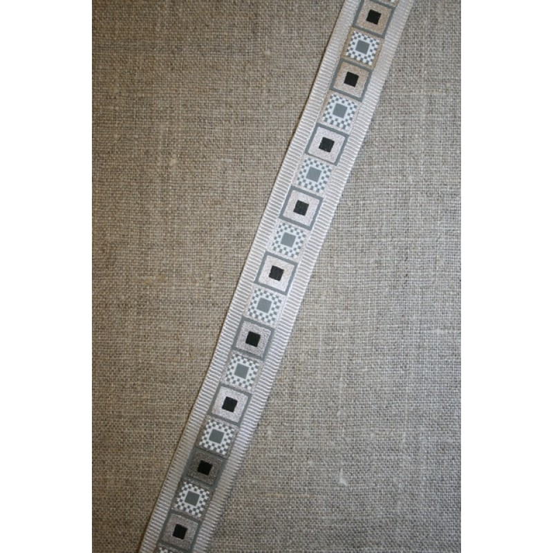 Bånd m/firkant-print grå/sølv-31