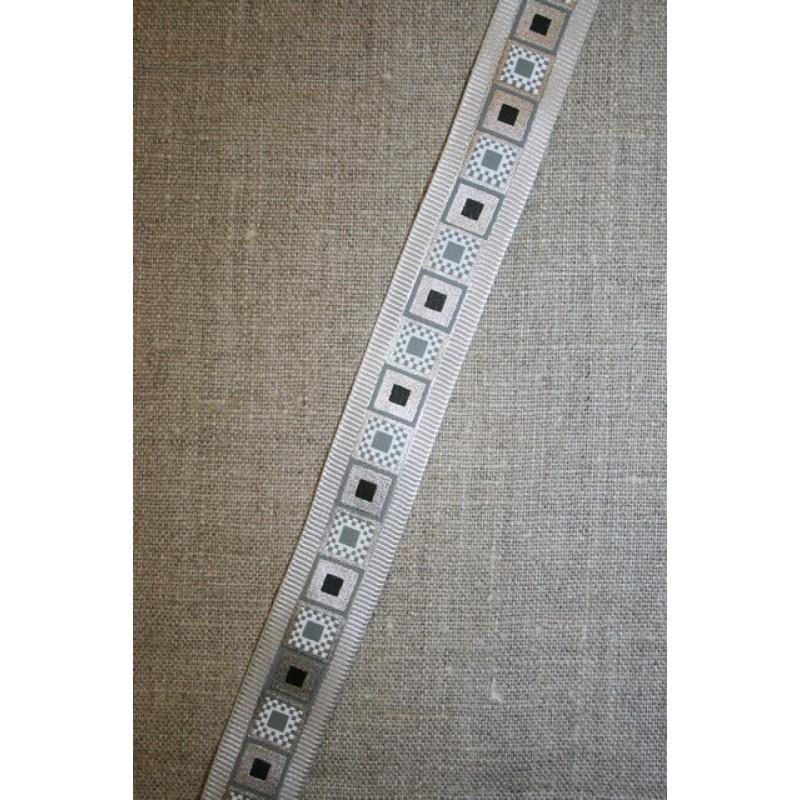 Bånd m/firkant-print grå/sølv