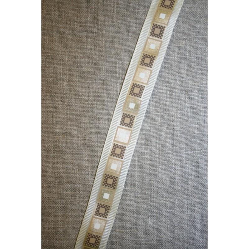 Bånd med firkant-print off-white-guld
