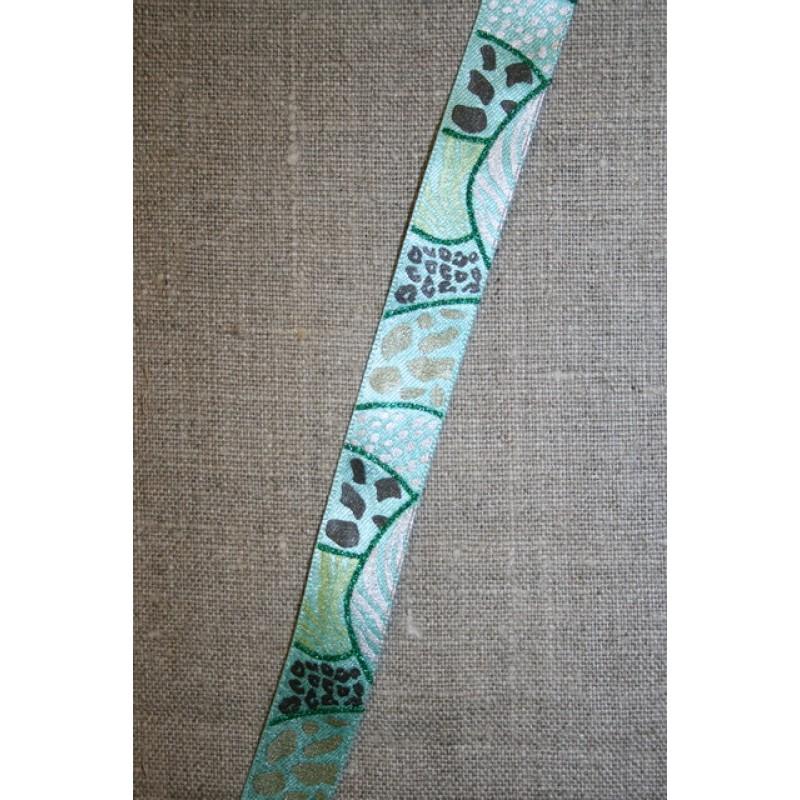 Printet bånd med glimmer aqua-grøn-grå