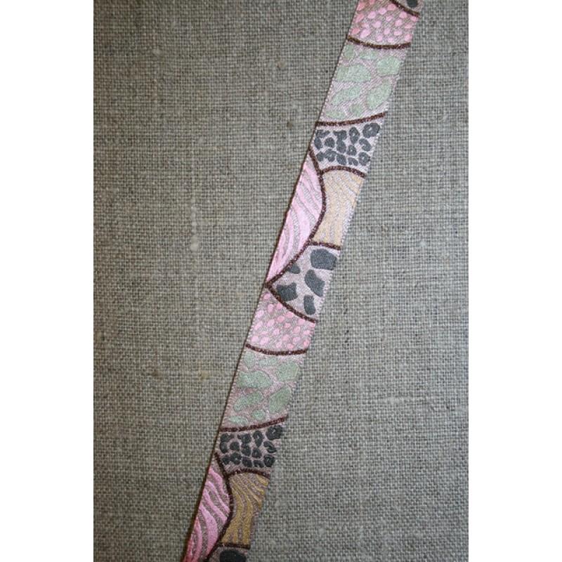 Printet bånd med glimmer pudder-lyserød-lysegrøn