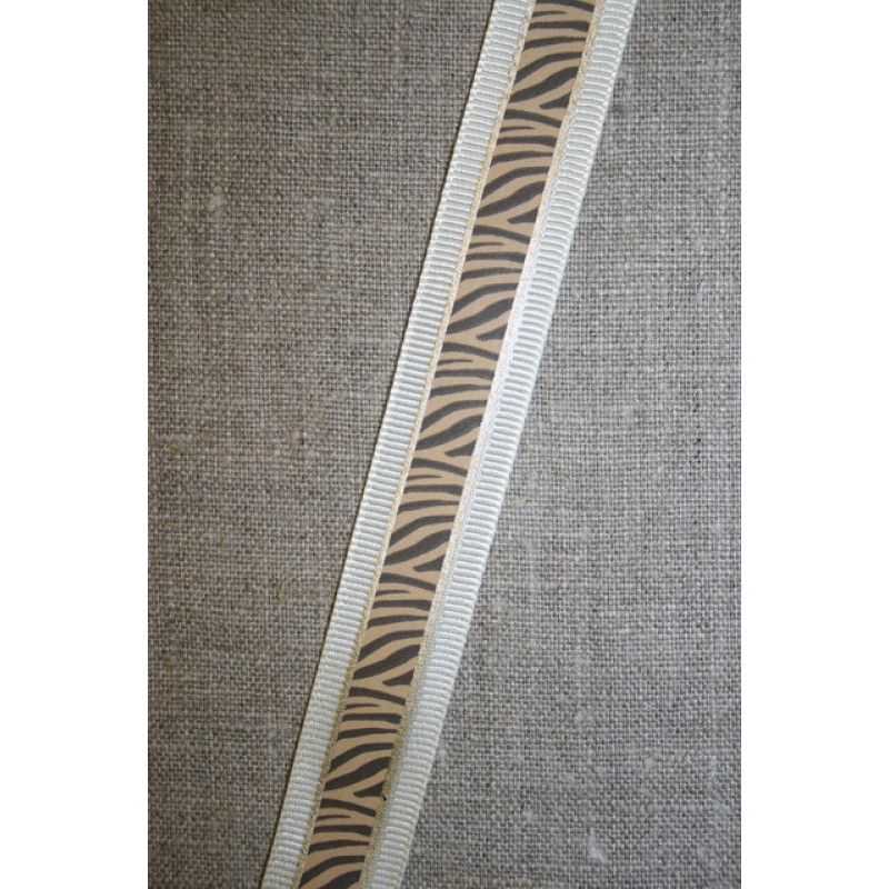 Bånd med zebra-print creme-brun-guld-35