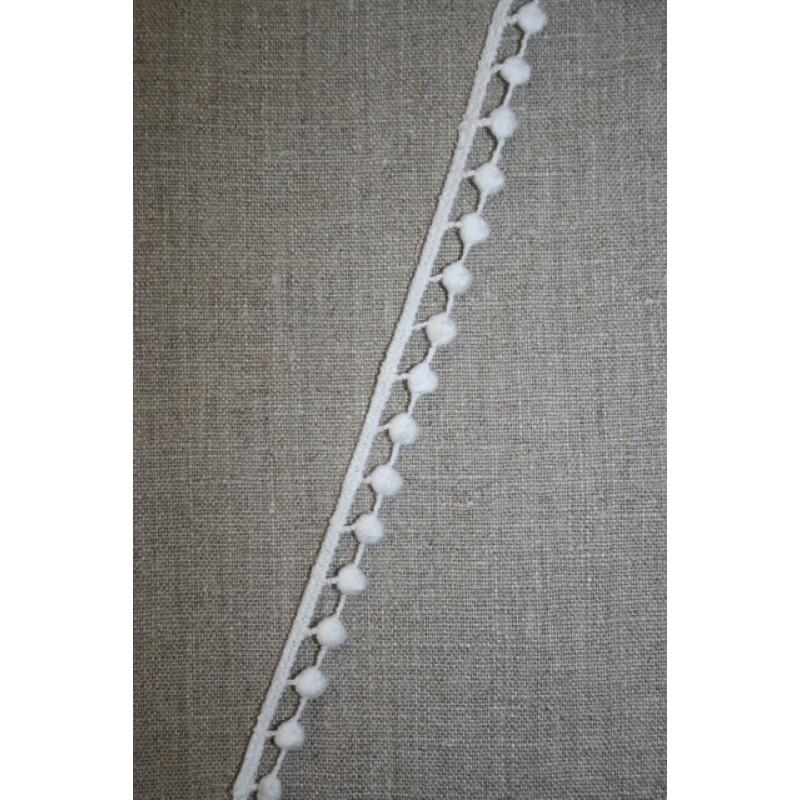 Bomulds-bånd i pompom-look, hvid