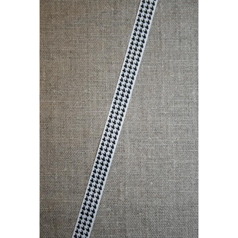 Grosgrainbånd m/hanefjed hvid/sort 10 mm.-31