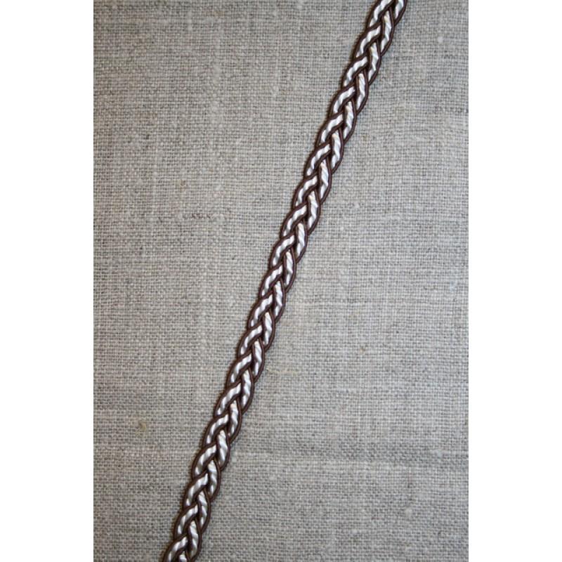 Flettet bånd brun-hvid-33