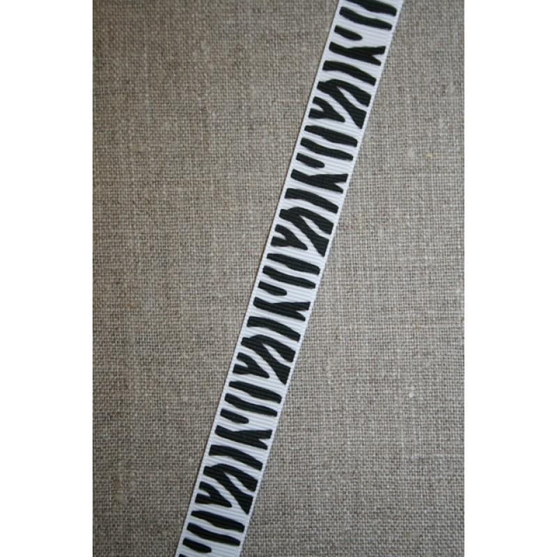 Grossgrain-bånd med zebra-striber 15 mm.-35