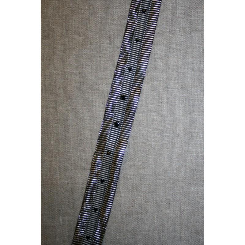 Grossgrain-bånd med hjerter og prikker grå-sølv-sort-33
