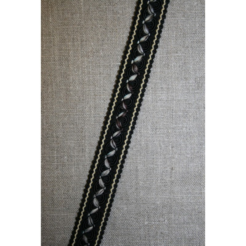 Bånd med agraman og zigzag, sort-beige-brun-aqua-35