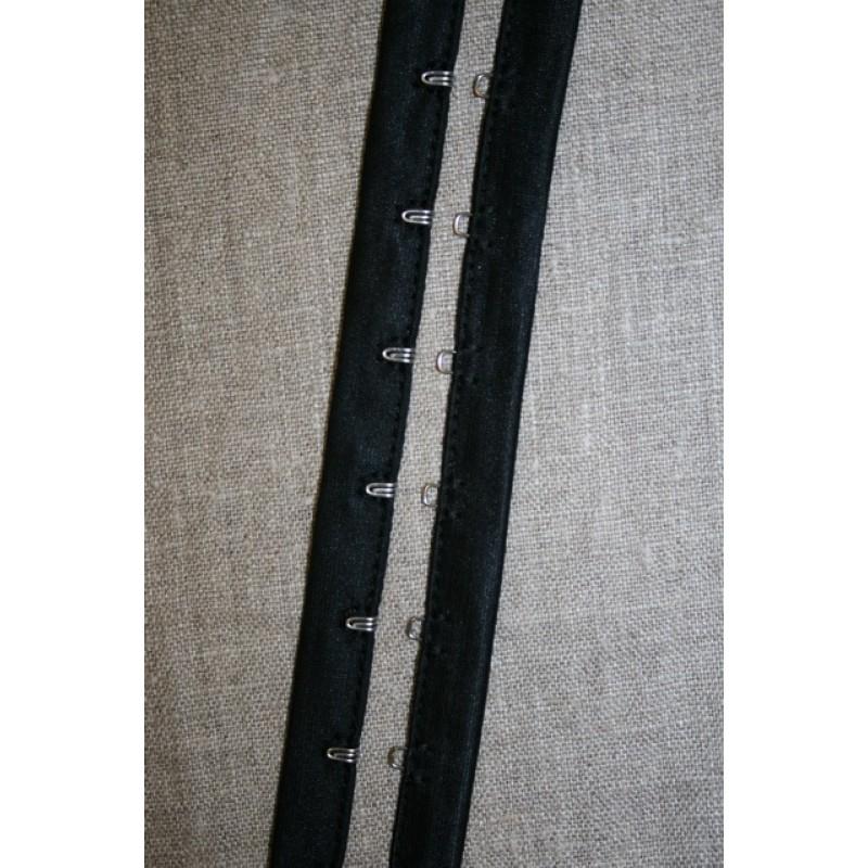 Rest Hægte-Mallebånd i sort- Hægt 145 cm. Malle 90 cm.