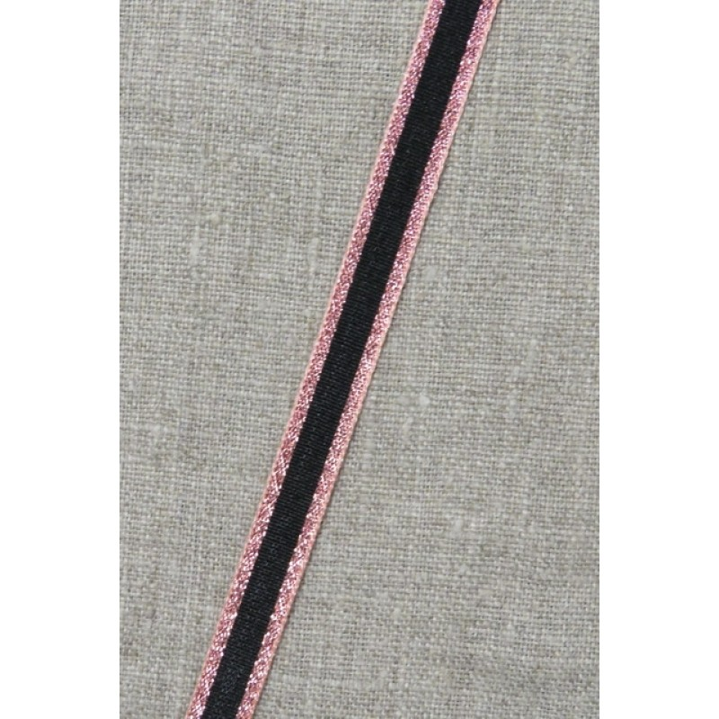 Stribet bånd med lurex, sort- rosa/kobber 10 mm.